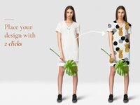 Free female apparel mockup set with tropic leaves for commercial presentation pattern designs