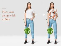 Free female tshirt and jeans mockup set with tropic leaves for commercial presentation pattern desig