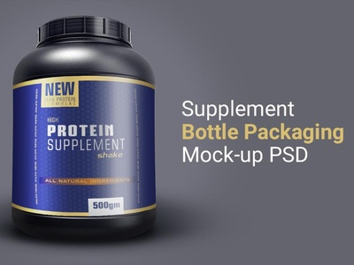 Supplement Bottle Package Mockup Free PSD