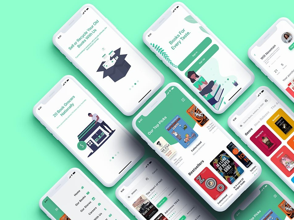 Bookstore XD UI Kit app design store book store ui freebies