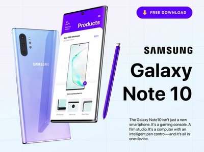 Samsung Galaxy Note 10 Mockup Free PSD