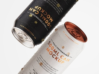 500ml Can Mockup Free PSD
