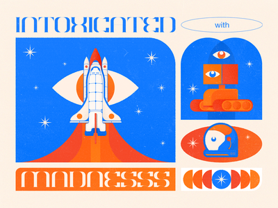 Madnesss spaceship madness shape stars robot cosmonaut cosmos rocket space colors vector illustrator illustration