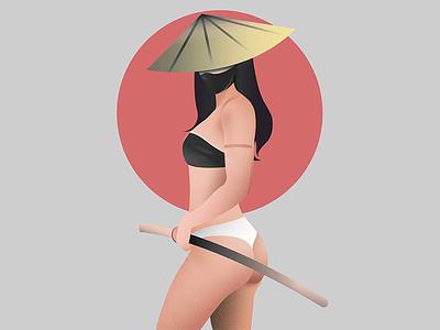 Katana Queen booty katanaqueen katana samurai icon illustration illustrator