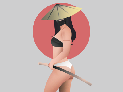 Katana Queen booty katanaqueen katana samurai icon illustration illustrator