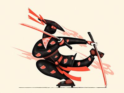 Ninja katana samurai ninja japanese man colors vector illustrator illustration