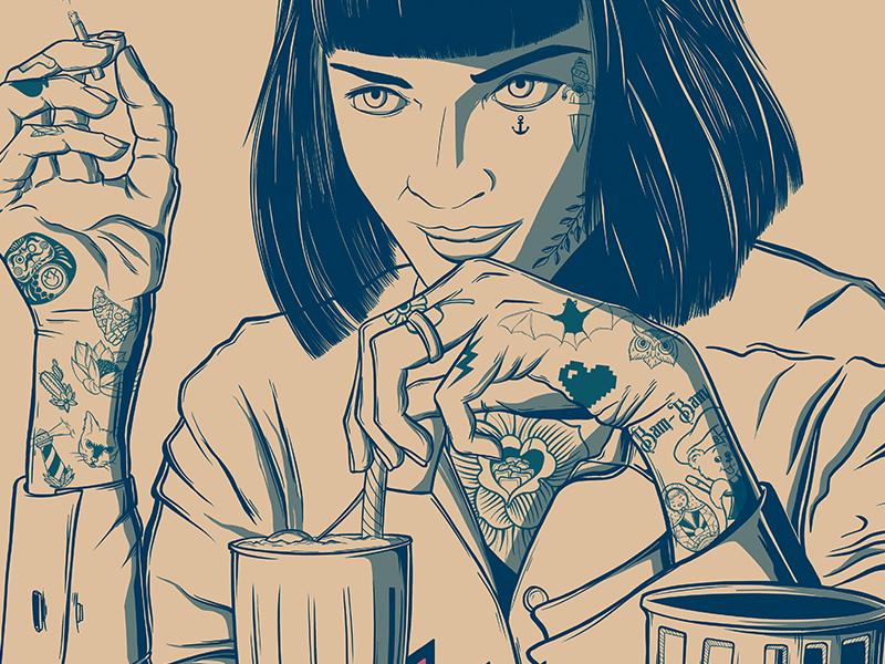 Mia Wallace - Pulp Fiction drawing character art rgb movie creative illustrator vector digitalart color adobe design photoshop illustration
