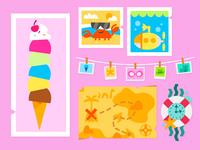 Summer Fun Decor kids vector illustration digital illustration kids illustration digital art vector illustration