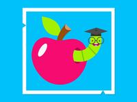 Bookworm kids school worm vector kids illustration digital illustration illustration