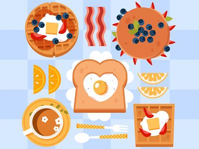 Breakfast bacon illustrator food illustration eggs waffle pancakes breakfast food icons kids illustration digital art digital illustration vector illustration vector illustration