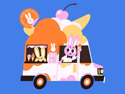 Sundae Best bunny ice cream truck ice cream character design digital art vector illustration digital illustration vector kids illustration illustration