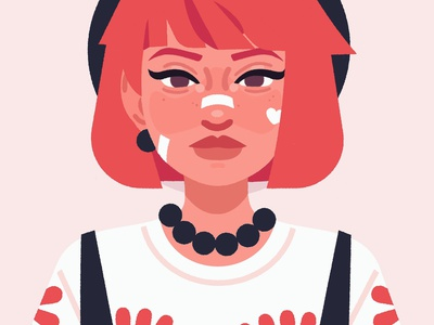 Lizzie girl character digital illustration character design portrait digital art vector illustration