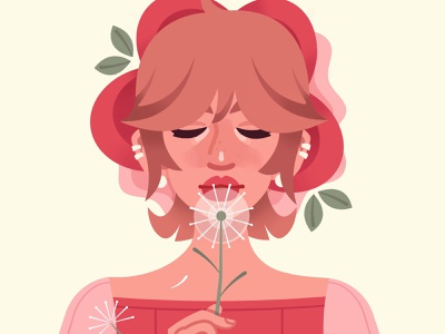 Dandelion flowers girl portrait dandelion illustrator procreate vector illustration digital art digital illustration vector illustration