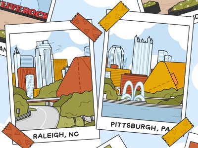 Pillow Pack Cities polaroid north carolina pennsylvania pittsburgh raleigh cities adobe illustrator vector illustration digital illustration vector illustration