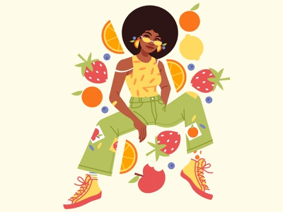 Citrusy fashion illustration portrait fruits apple orange lemon strawberry fruit fashion character design girl vector illustration digital art digital illustration vector illustration