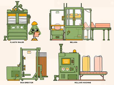 Factory Illos machinery factory machines kids illustration vector illustration digital art digital illustration vector illustration