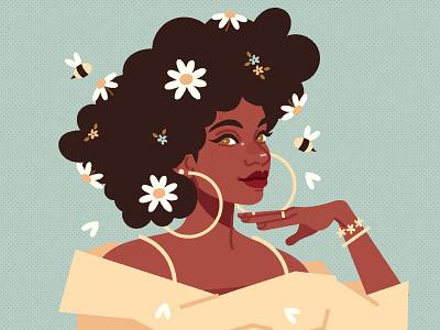 Daisy girl portrait vector illustration digital art digital illustration vector illustration