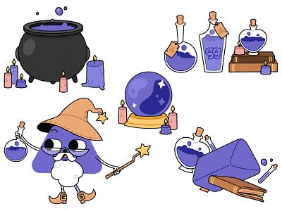 Potion spells cauldron witch magic wizard potion kids illustration vector illustration digital art digital illustration vector illustration
