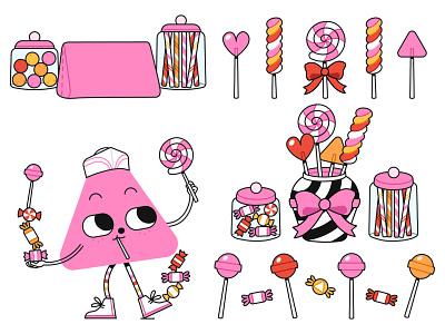 Lolly sweets candy shop candy lollipop lolly kids illustration vector illustration digital art digital illustration vector illustration