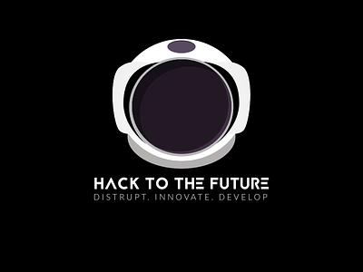 Hack To The Future astronaut space iconography hackathon hacktothefuture logo