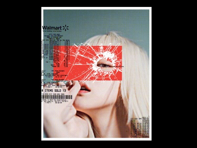 Witness Me grunge typography broken glass glass reciept consumerism walmart collage halftone