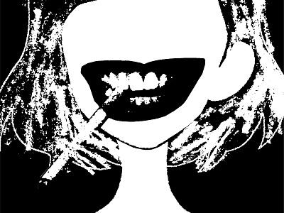 SPesH lips cigarette texture illustration collage seattle gigposter halftone
