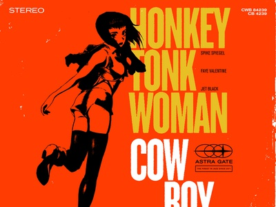 Honkey Tonk Woman cowboy bebop collage jazz typography record label record cover blue note records blue note anime