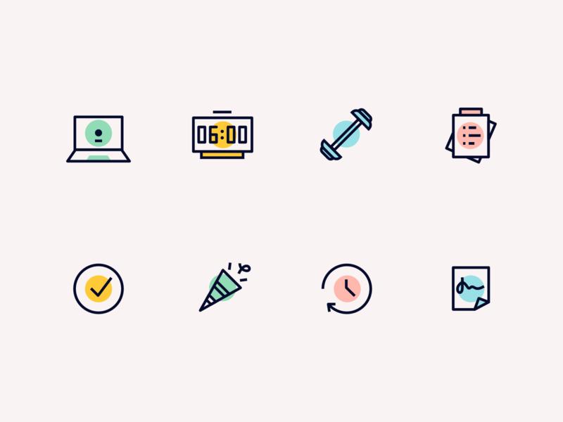 Minimal icon set spot dot one line todo list todo check confettis celebration time notes workout clock laptop icon pack icons iconset