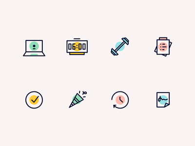 Minimal icon set spot dot one line todo list todo check confettis celebration time notes workout clock laptop icon pack icons iconset