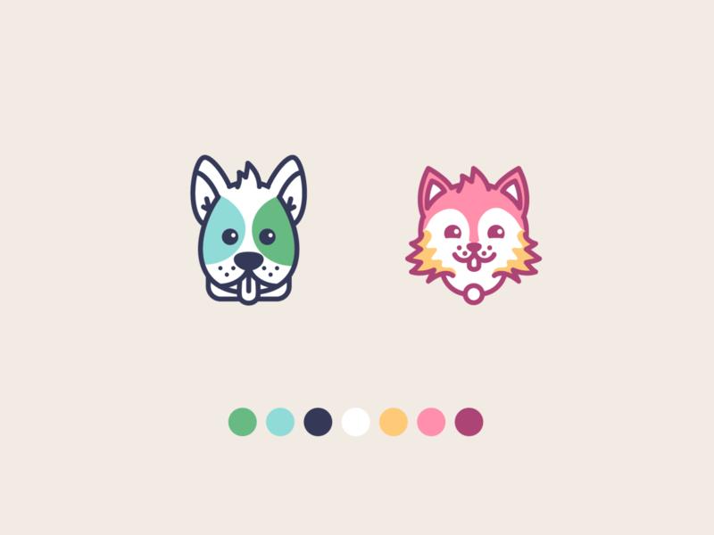 Team Dog vs Team Cat icons design logo kitten puppy pets soft outline icon dog cat icons store ui illustration
