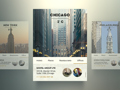 US City Widget (Chicago, NY, Philadelphia) freebie app ui psd widget city ux chicago new york philadelphia weather navigation