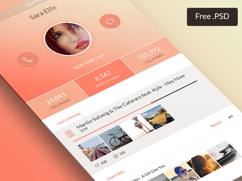 Freebie App app ui psd freebie ios7 iphone free audio player profile user