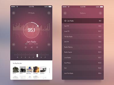 FM Radio UI - iOS 7 App app freebie psd ui ios7 free radio audio player ux iphone