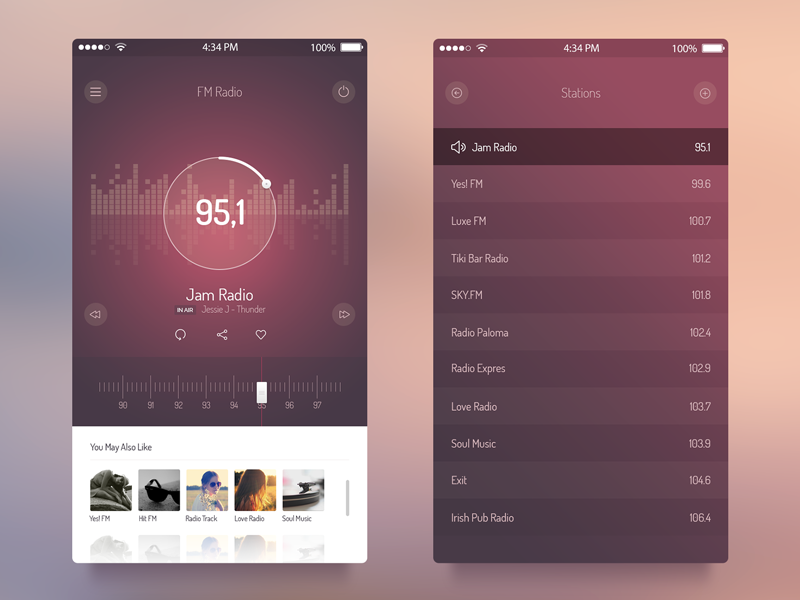 FM Radio UI - iOS 7 App app freebie psd ui ios7 free radio audio player ux iphone