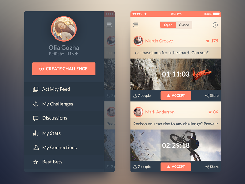 iOS7 Challenge App app freebie psd ui ios7 free activity feed sidebar navigation screen ux free psd bet