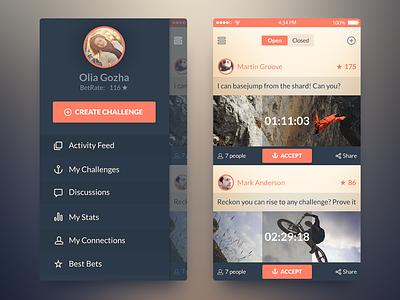 iOS7 Challenge App app freebie psd ui ios7 free activity feed sidebar navigation screen ux free psd bet