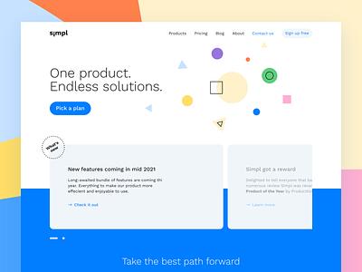 Simpl template product marketing landingpage interface ux webdesign web website ui hubspot