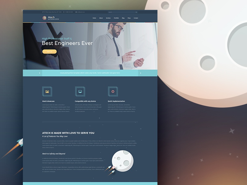 Atech Freebie Page web web design ui ux themeforest landing page flat space rocket freebie free psd website