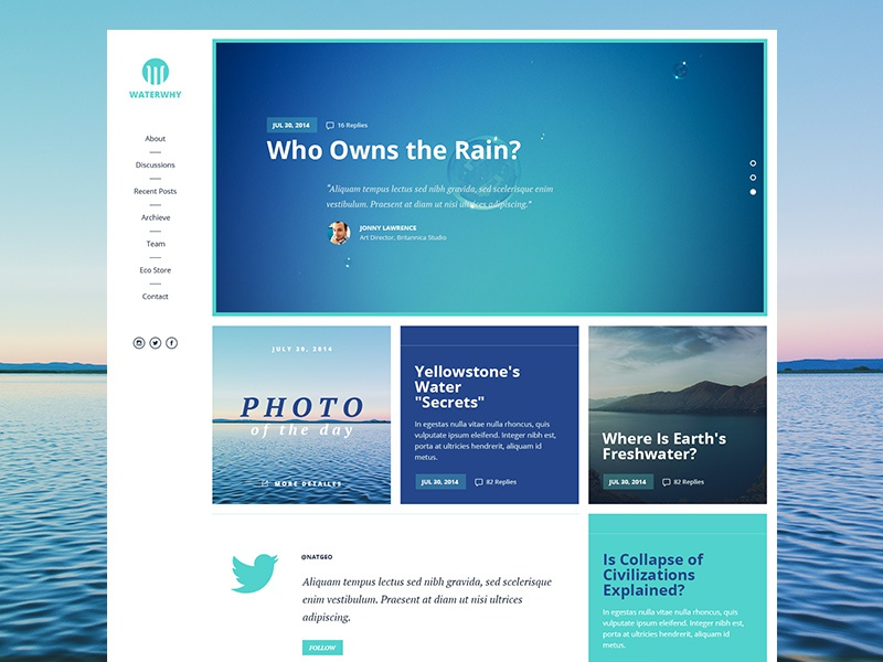 Water Style Blog. Freebie web web design free psd psd freebie ui ux water eco blog theme grid