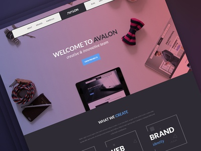Avalon Creative Studio Freebie psd dark gradient hero header homepage ux ui creative studio themeforest web free psd freebie