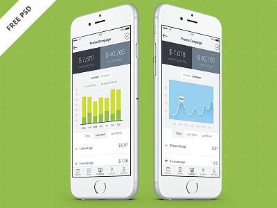OptimaSales iPhone 6 App. Freebie marketing ios 8 graphs finance data free psd freebie iphone app ux ui iphone 6