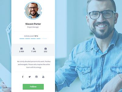 Appon User Profile ui ux avatar user profile card profile widget member profile follow button social interface
