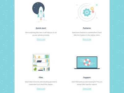 Online documentation themeforest ui ux illustration rocket launch patterns gears cogs bookshelf books support