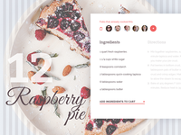 Raspberry Pie Recipe UI for Foodly shop elegant webdesign cooking bakery recipe ux ui e-commerce food
