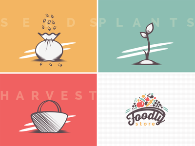 Foodly Cards webdesign nutrition vector illustration store harvest basket plants seeds icons e-commerce food