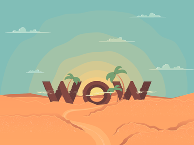 Wow Effect Mirage lost mirage sunrise clouds illusion sky sand wow palm desert vector illustration