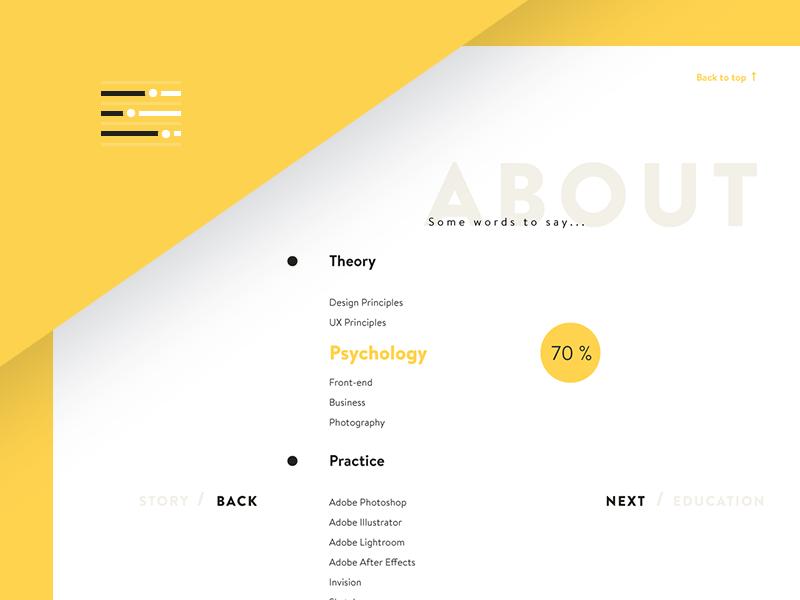 Designer Skills resume cv skills yellow minimal personal typography ux ui about website webdesign