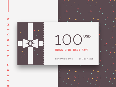 Foodly Gift Card tile confetti discount price gift present bow gift card shop e-commerce ux ui