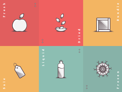 Foodly Collection Icons sale ecommerce food tag bottle snowflake box vector illustration apple fruit icon