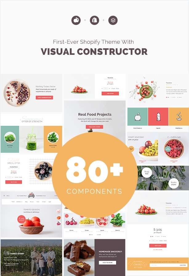 Foodly first ever shopify theme with visual constructor